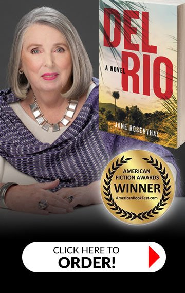 Del Rio Book cover with Jane headshot and award
